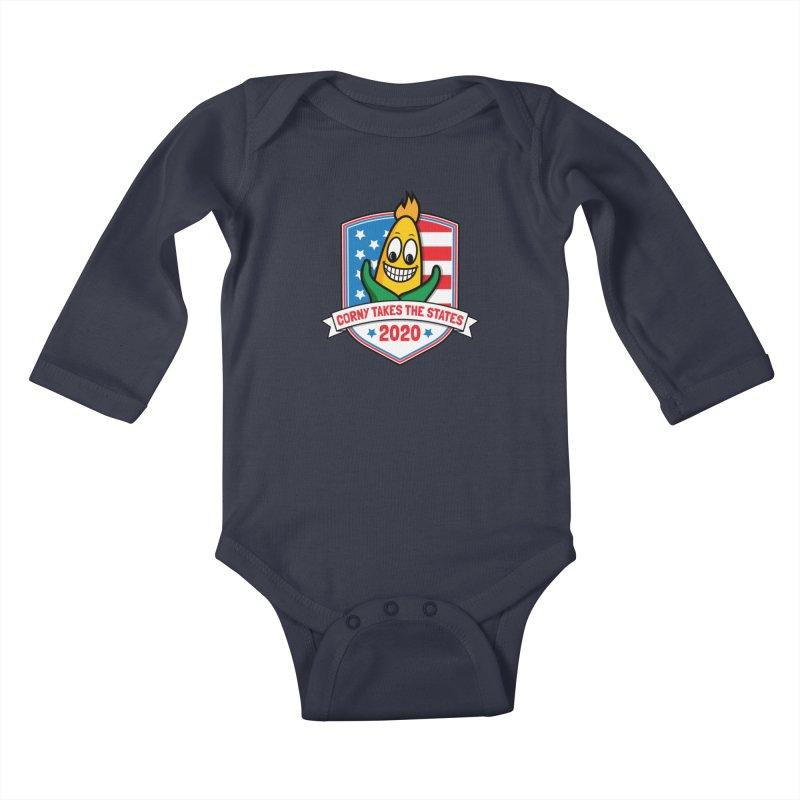 Corny Takes the States 2020 - Badge Kids Baby Longsleeve Bodysuit by TwistyMini Motoring Shirts