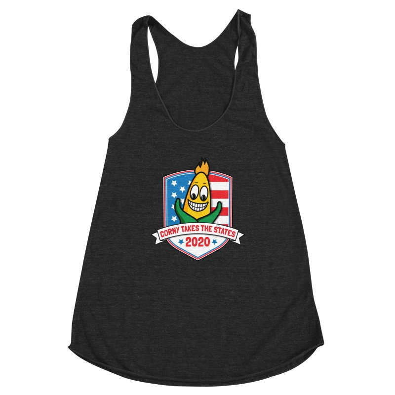 Corny Takes the States 2020 - Badge Women's Racerback Triblend Tank by TwistyMini Motoring Shirts