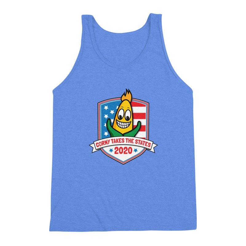 Corny Takes the States 2020 - Badge Men's Triblend Tank by TwistyMini Motoring Shirts