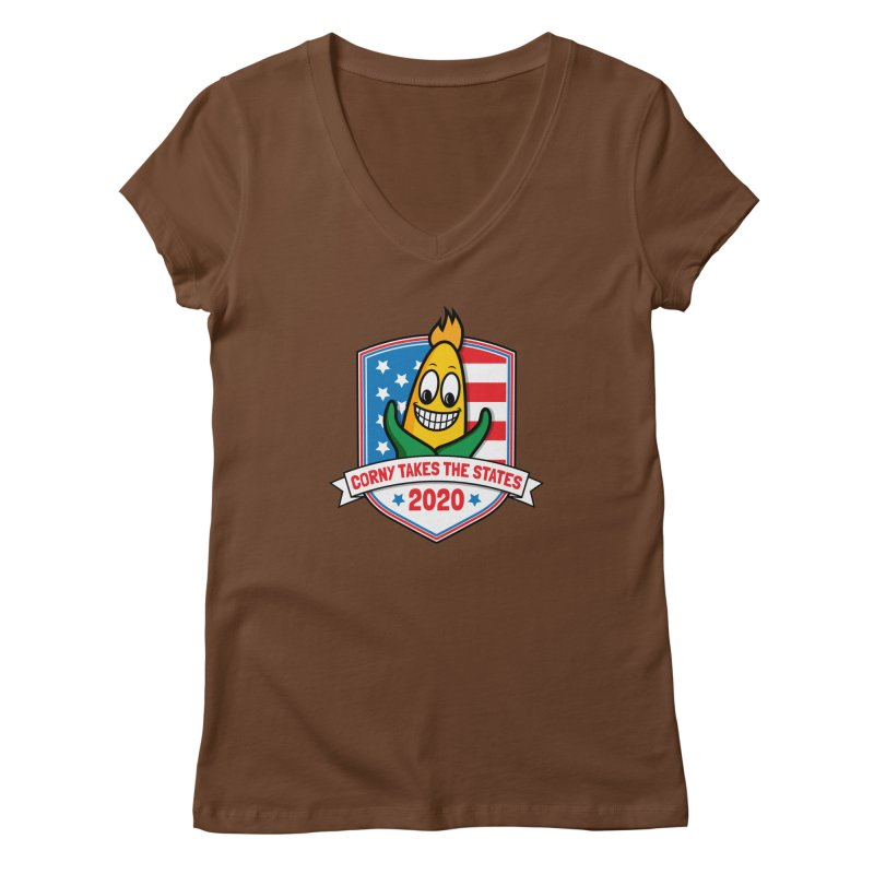 Corny Takes the States 2020 - Badge Women's Regular V-Neck by TwistyMini Motoring Shirts