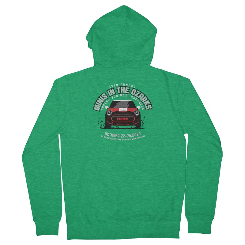MINIS in the Ozarks 2020 - Classic - Red Car Women's French Terry Zip-Up Hoody by TwistyMini Motoring Shirts