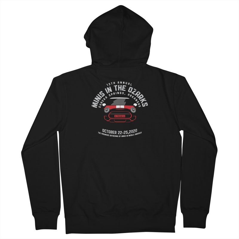 MINIS in the Ozarks 2020 - Classic - Red Car Men's French Terry Zip-Up Hoody by TwistyMini Motoring Shirts