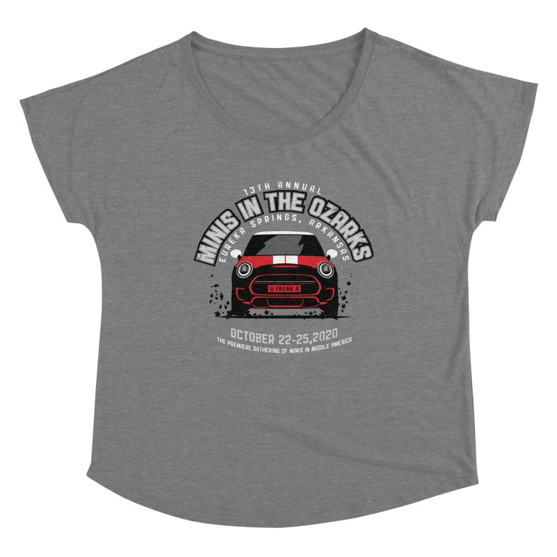 MINIS in the Ozarks 2020 - Classic - Red Car Women's Dolman Scoop Neck by TwistyMini Motoring Shirts