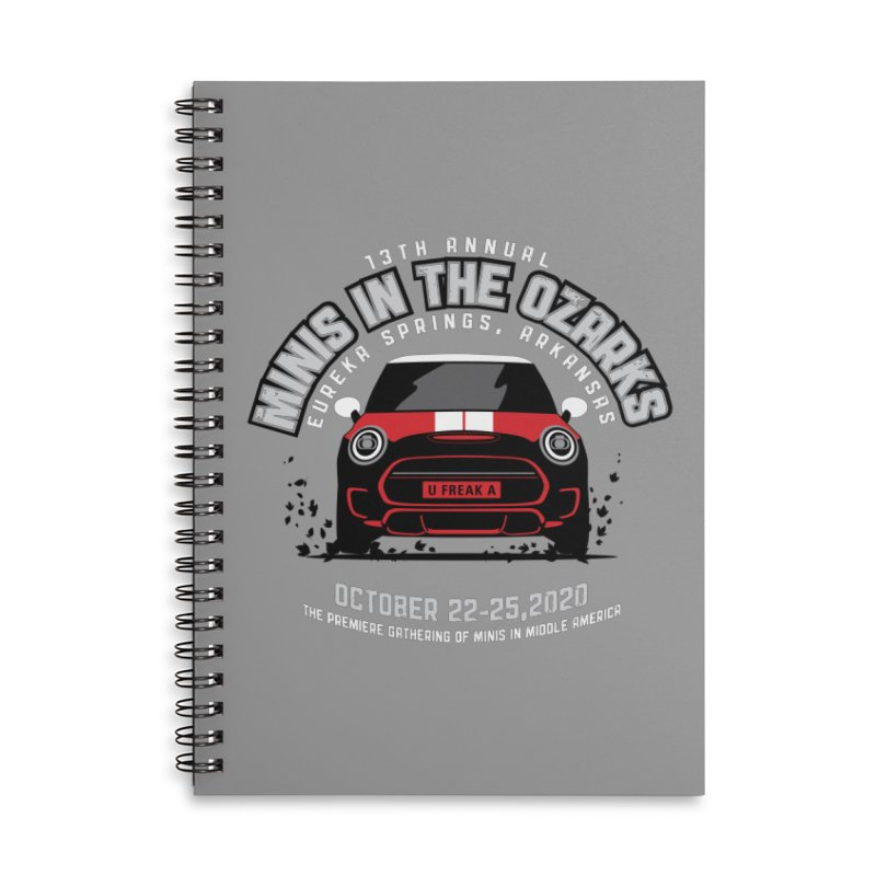 MINIS in the Ozarks 2020 - Classic - Red Car Accessories Lined Spiral Notebook by TwistyMini Motoring Shirts