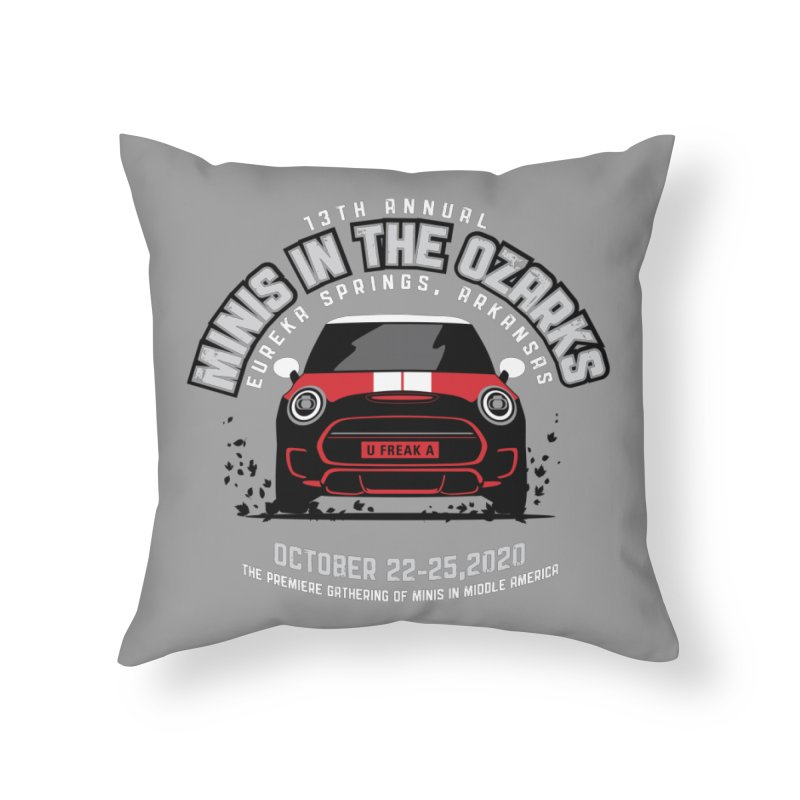 MINIS in the Ozarks 2020 - Classic - Red Car Home Throw Pillow by TwistyMini Motoring Shirts