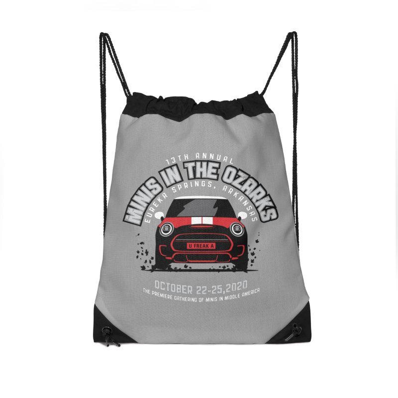 MINIS in the Ozarks 2020 - Classic - Red Car Accessories Drawstring Bag Bag by TwistyMini Motoring Shirts