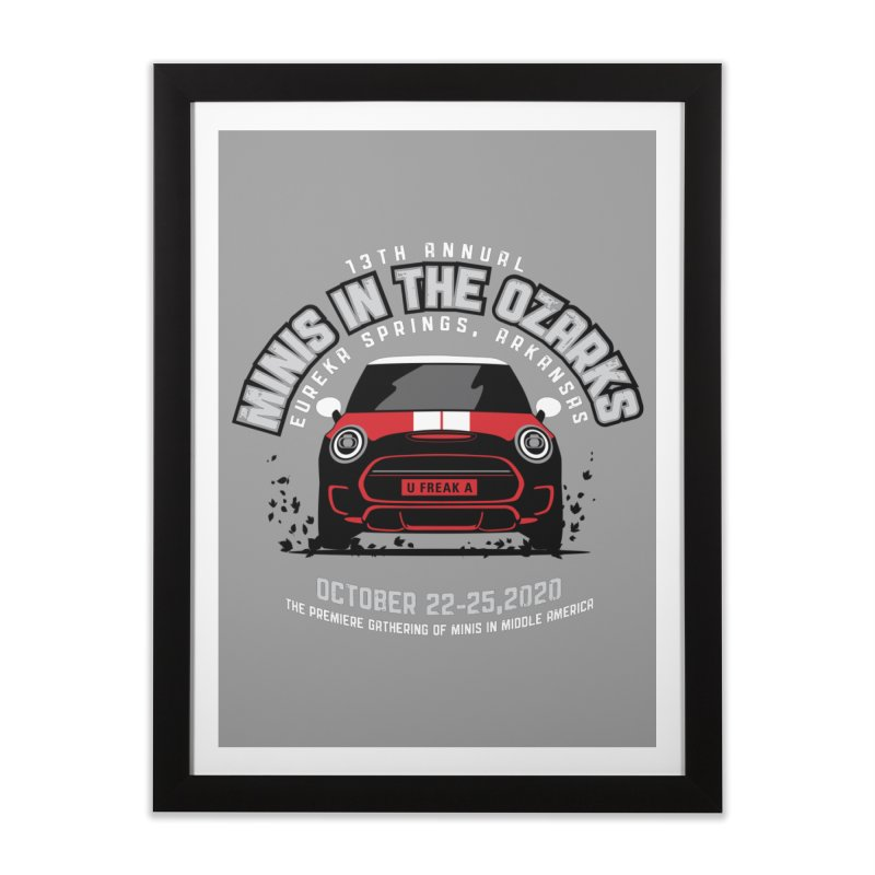 MINIS in the Ozarks 2020 - Classic - Red Car Home Framed Fine Art Print by TwistyMini Motoring Shirts