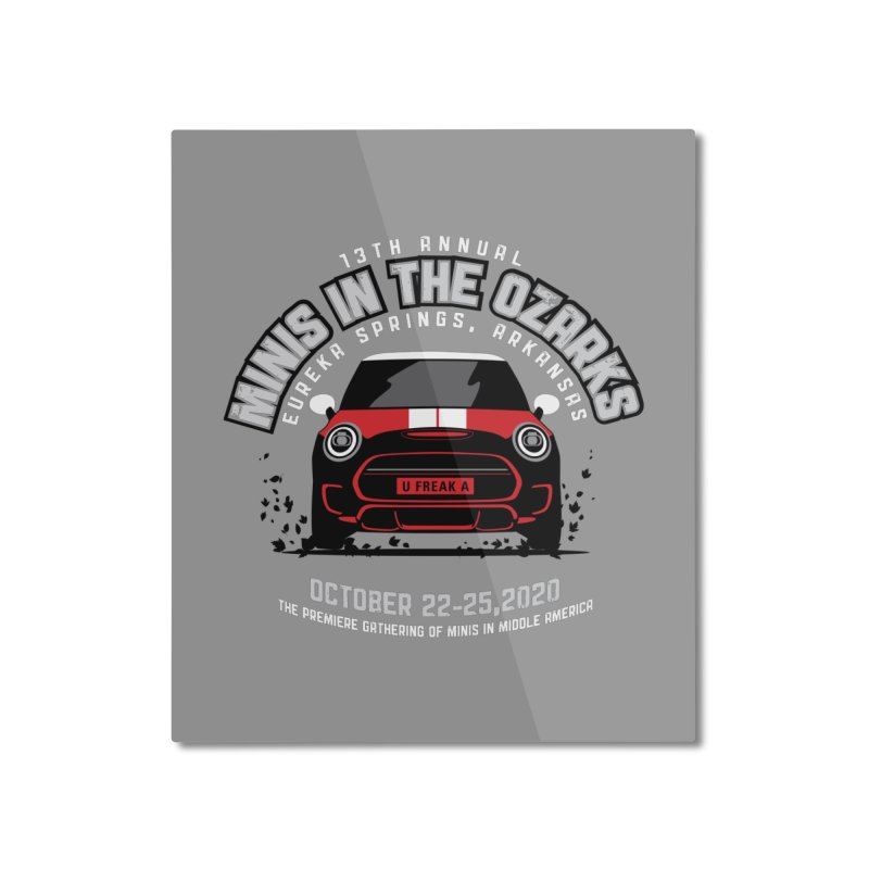 MINIS in the Ozarks 2020 - Classic - Red Car Home Mounted Aluminum Print by TwistyMini Motoring Shirts