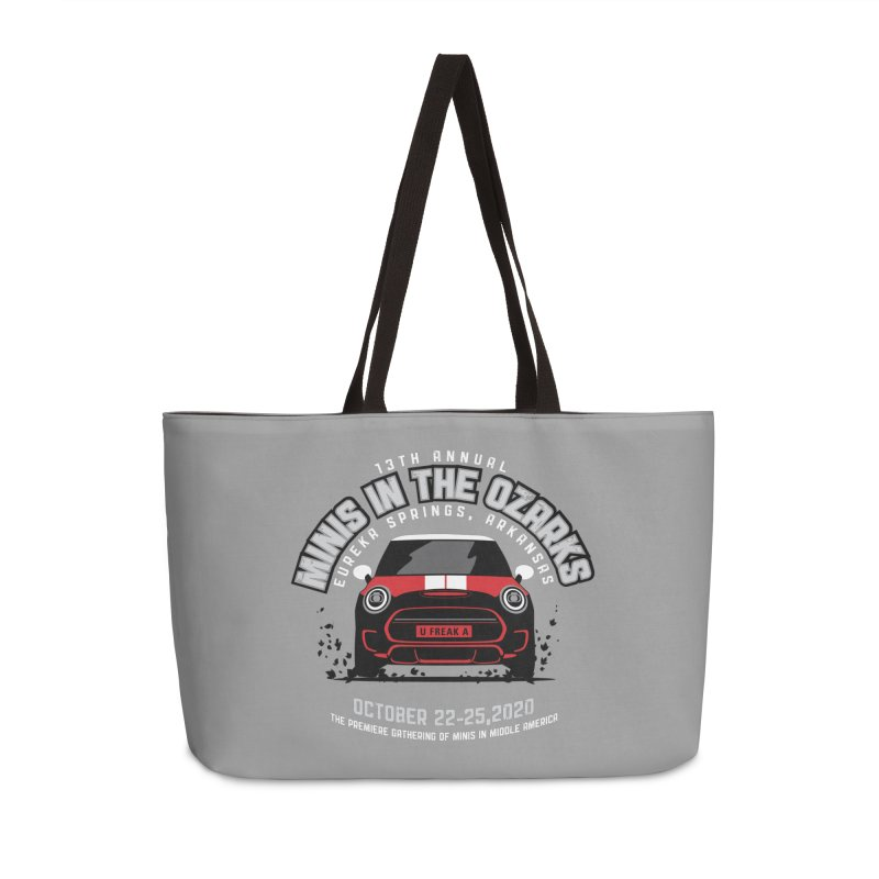 MINIS in the Ozarks 2020 - Classic - Red Car Accessories Weekender Bag Bag by TwistyMini Motoring Shirts