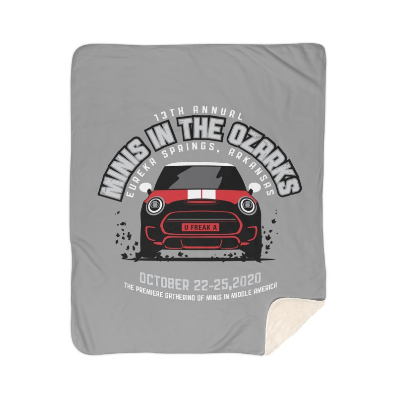 MINIS in the Ozarks 2020 - Classic - Red Car Home Sherpa Blanket Blanket by TwistyMini Motoring Shirts