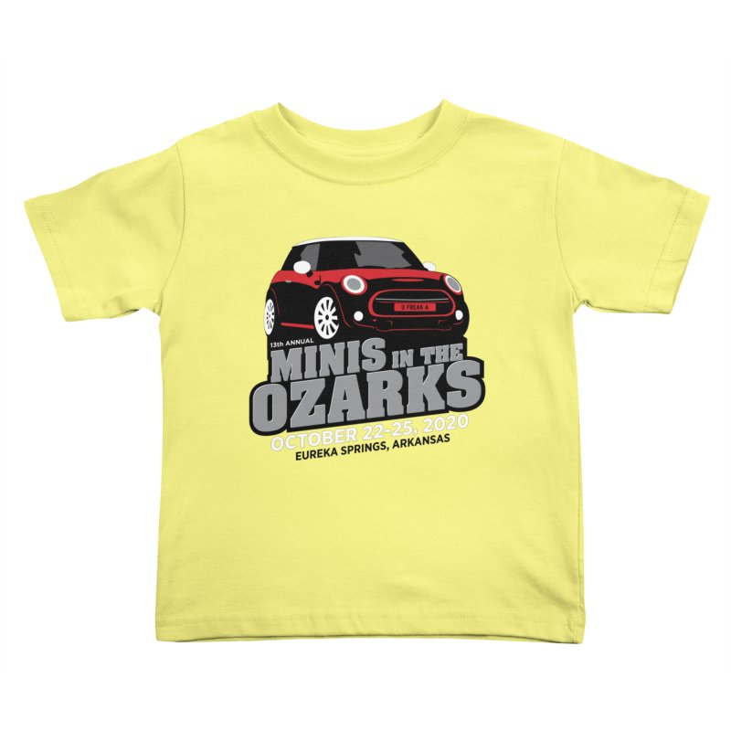 MINIS in the Ozarks 2020 - Red Car Kids Toddler T-Shirt by TwistyMini Motoring Shirts