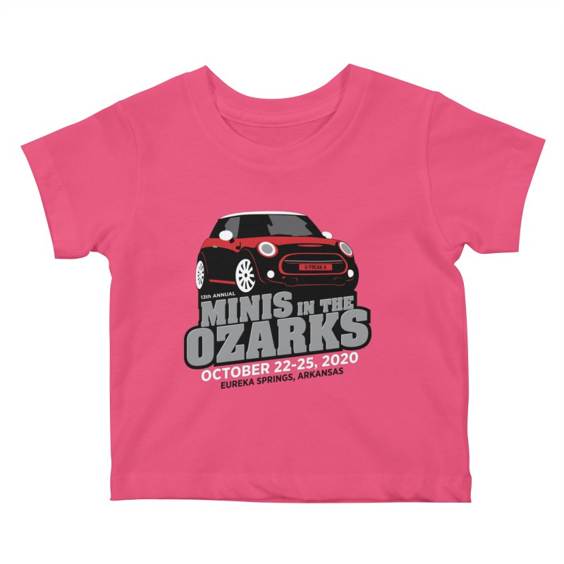 MINIS in the Ozarks 2020 - Red Car Kids Baby T-Shirt by TwistyMini Motoring Shirts