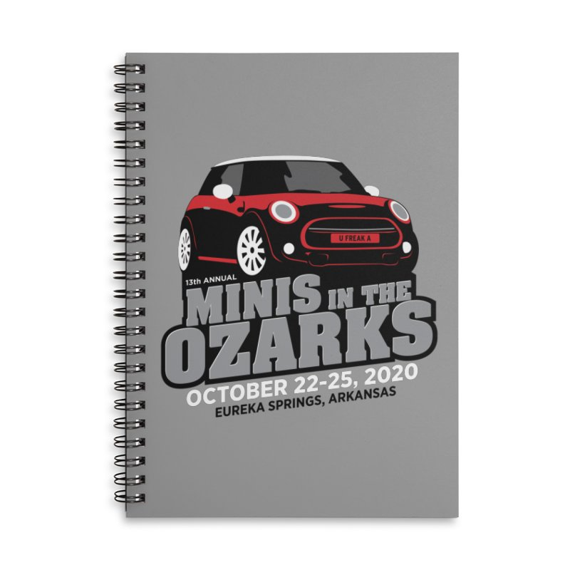 MINIS in the Ozarks 2020 - Red Car Accessories Lined Spiral Notebook by TwistyMini Motoring Shirts