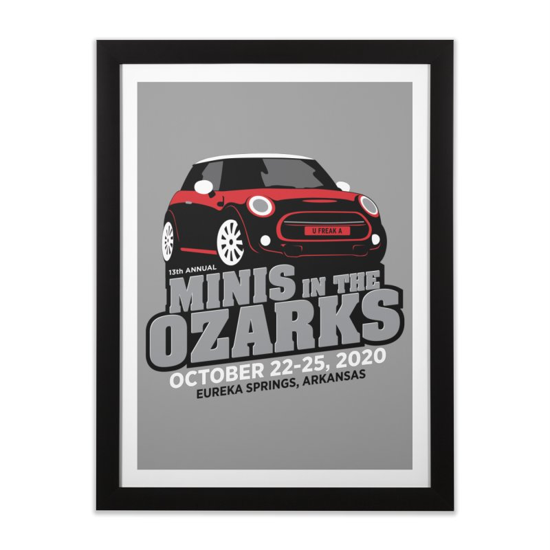 MINIS in the Ozarks 2020 - Red Car Home Framed Fine Art Print by TwistyMini Motoring Shirts