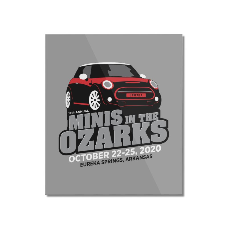MINIS in the Ozarks 2020 - Red Car Home Mounted Acrylic Print by TwistyMini Motoring Shirts