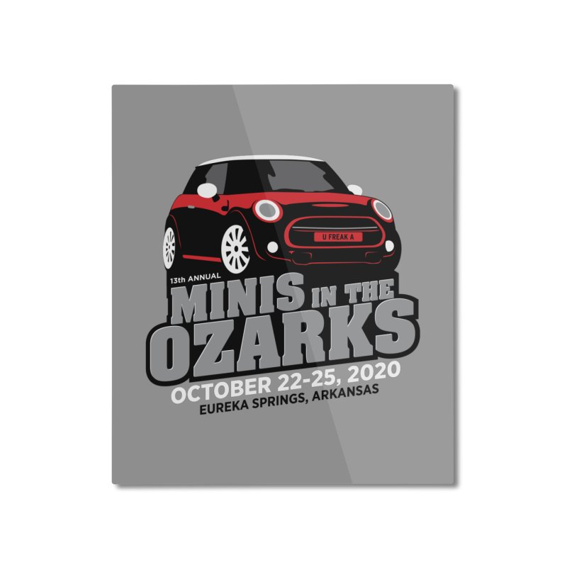 MINIS in the Ozarks 2020 - Red Car Home Mounted Aluminum Print by TwistyMini Motoring Shirts