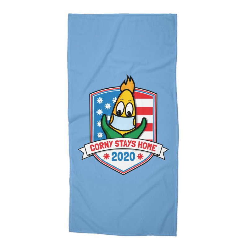 Corny Stays Home 2020 Accessories Beach Towel by TwistyMini Motoring Shirts