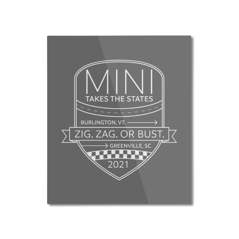 Mini Takes the States 2021 - White Home Mounted Aluminum Print by TwistyMini Motoring Shirts