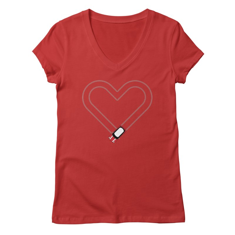 Tire Track Heart Women's Regular V-Neck by TwistyMini Motoring Shirts