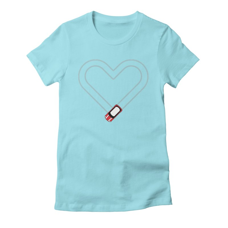 Tire Track Heart Women's Fitted T-Shirt by TwistyMini Motoring Shirts