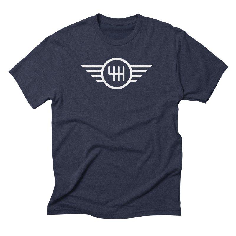 6-Speed Manual in Men's Triblend T-shirt Navy by TwistyMini Motoring Shirts