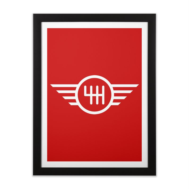 6-Speed Manual Home Framed Fine Art Print by TwistyMini Motoring Shirts