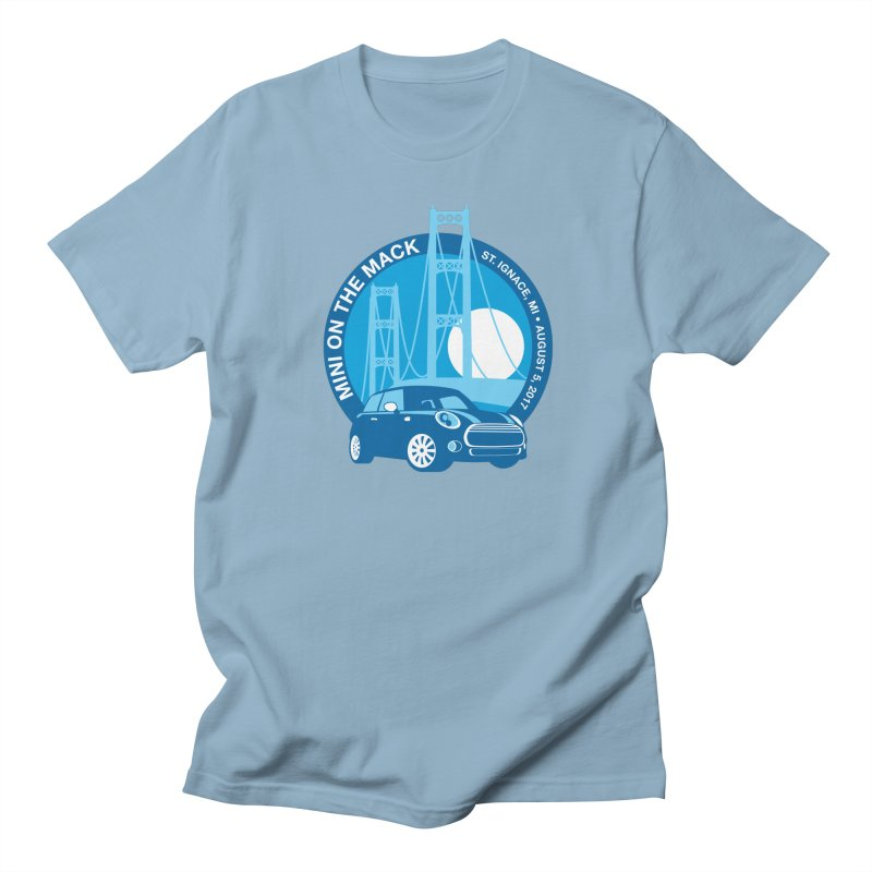MINI on the Mack in Men's T-shirt Light Blue by TwistyMini Motoring Shirts