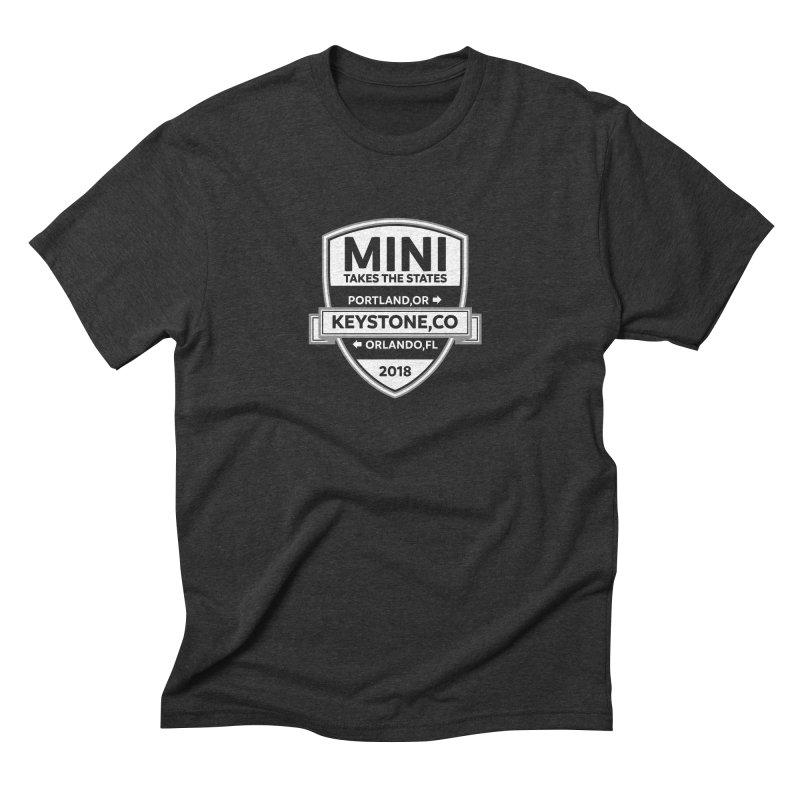 MINI Takes the States 2018 (White) Men's Triblend T-Shirt by TwistyMini Motoring Shirts