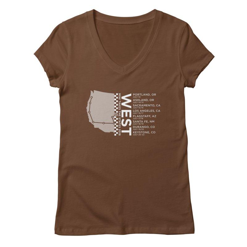 MINI Takes the States - WEST Women's V-Neck by TwistyMini Motoring Shirts