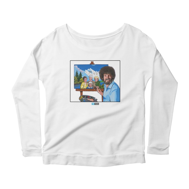 the Golden Girls get their portrait painted Women's Scoop Neck Longsleeve T-Shirt by Two Thangs Artist Shop