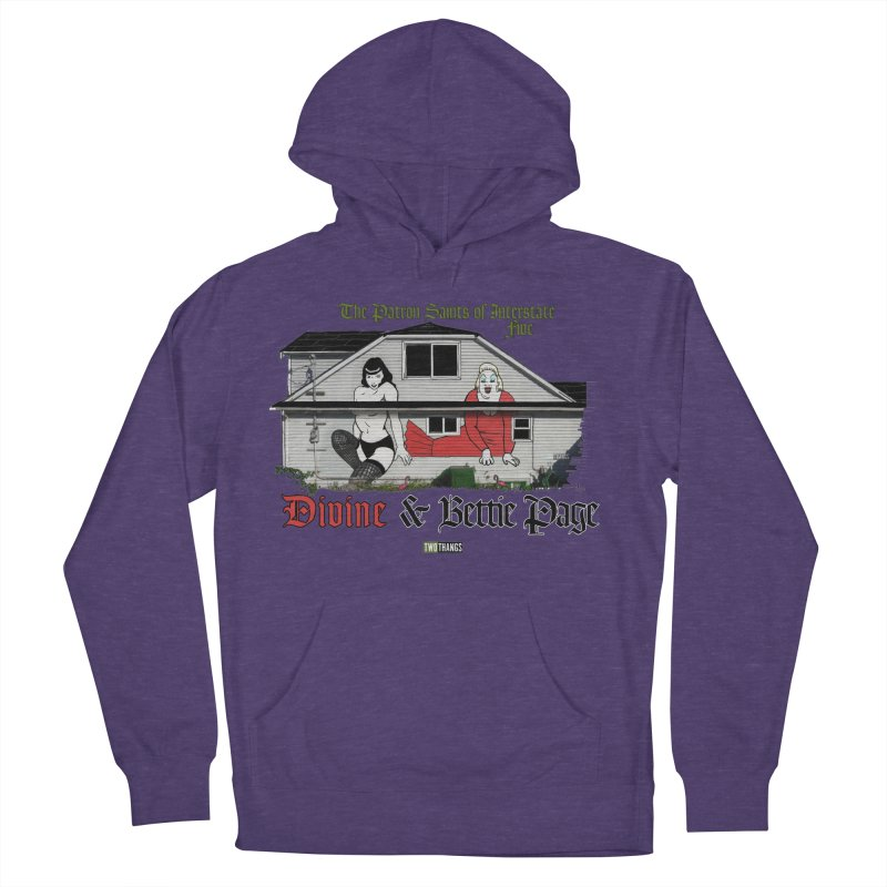 Bettie Page and Divine Women's French Terry Pullover Hoody by Two Thangs Artist Shop