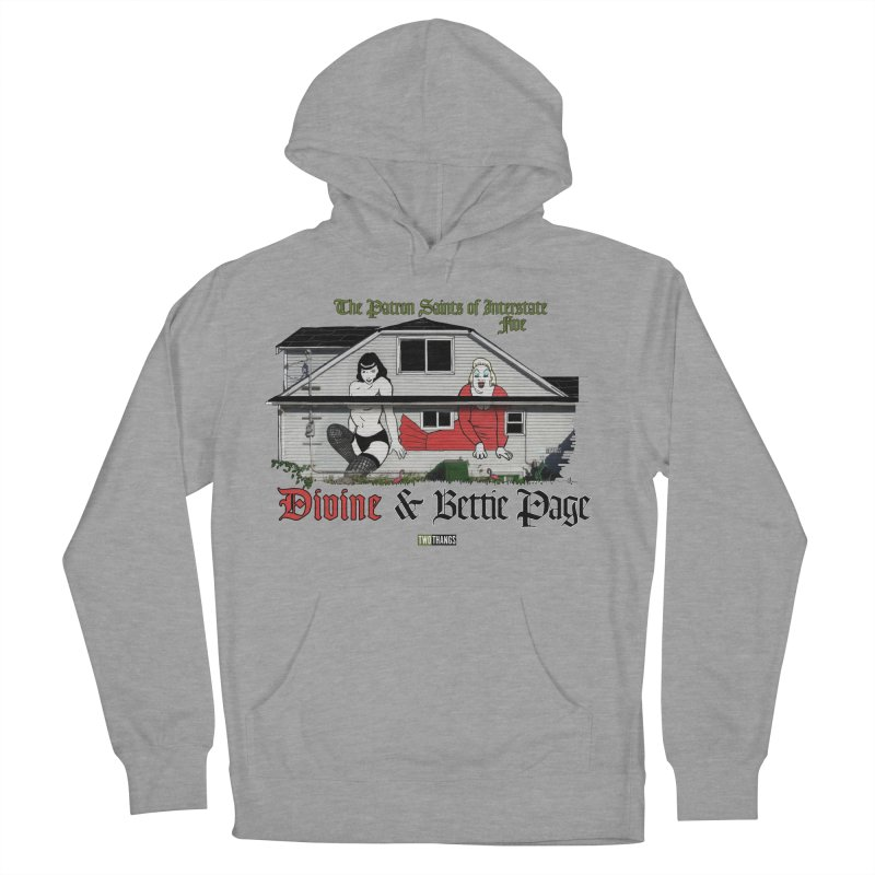 Bettie Page and Divine Men's French Terry Pullover Hoody by Two Thangs Artist Shop