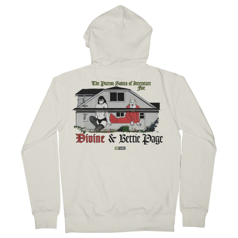 Bettie Page and Divine Men's French Terry Zip-Up Hoody by Two Thangs Artist Shop