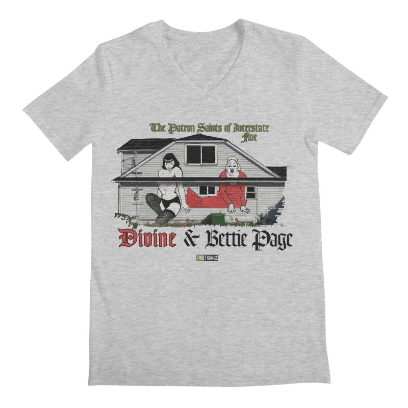 Bettie Page and Divine Men's Regular V-Neck by Two Thangs Artist Shop