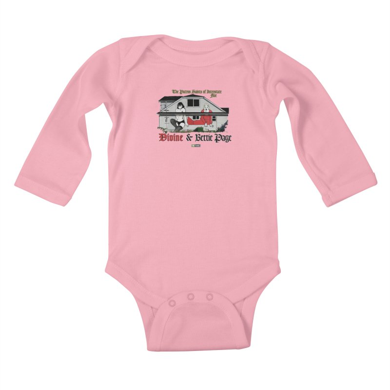 Bettie Page and Divine Kids Baby Longsleeve Bodysuit by Two Thangs Artist Shop