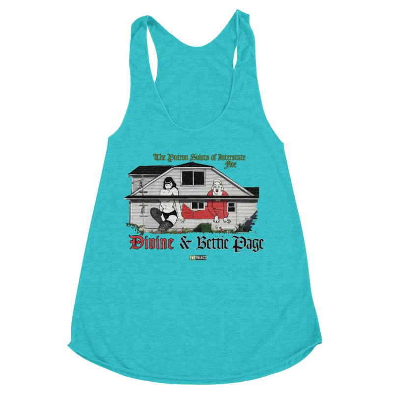 Bettie Page and Divine Women's Racerback Triblend Tank by Two Thangs Artist Shop