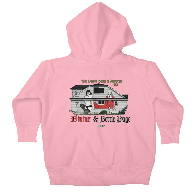 Bettie Page and Divine Kids Baby Zip-Up Hoody by Two Thangs Artist Shop