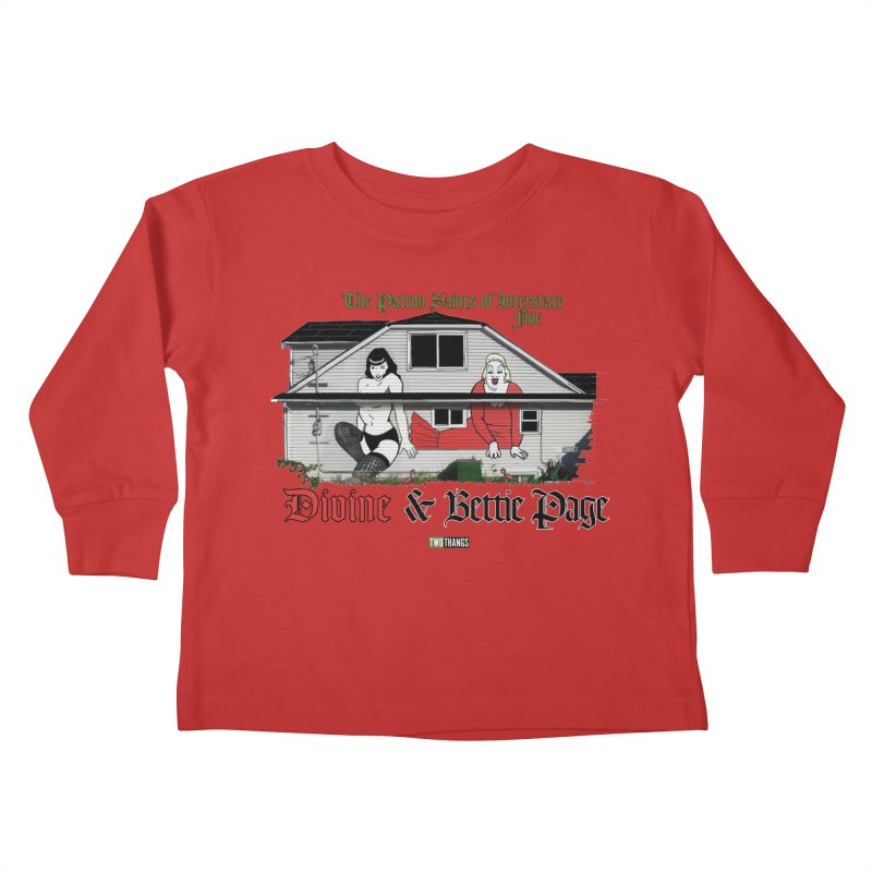 Bettie Page and Divine Kids Toddler Longsleeve T-Shirt by Two Thangs Artist Shop