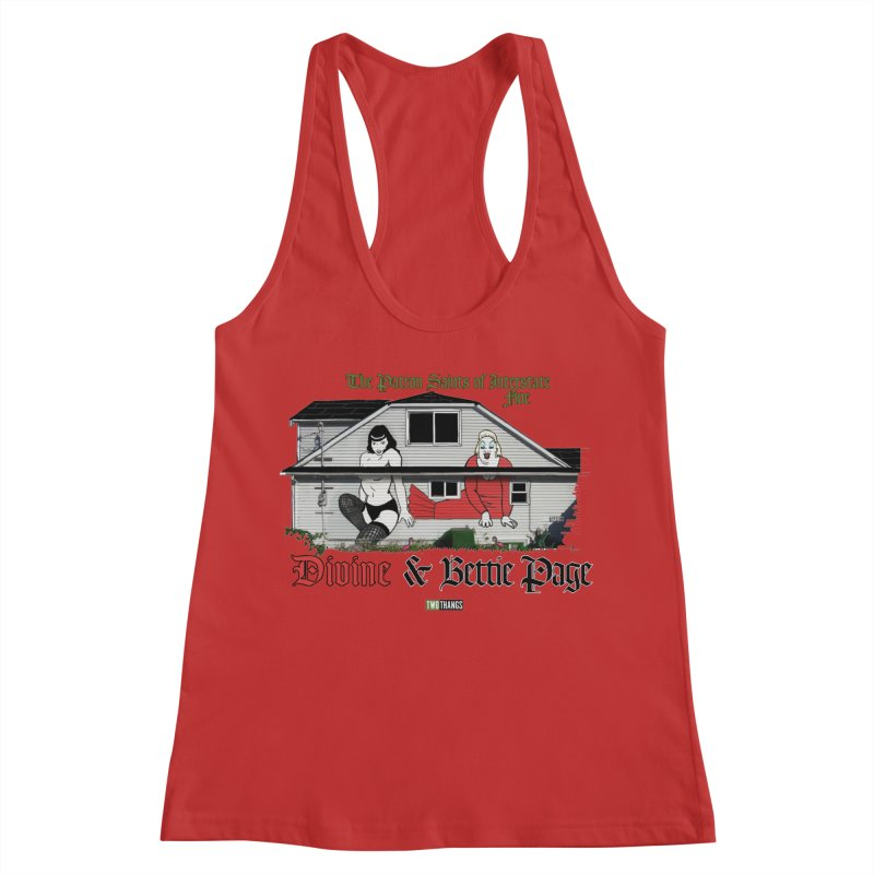 Bettie Page and Divine Women's Racerback Tank by Two Thangs Artist Shop