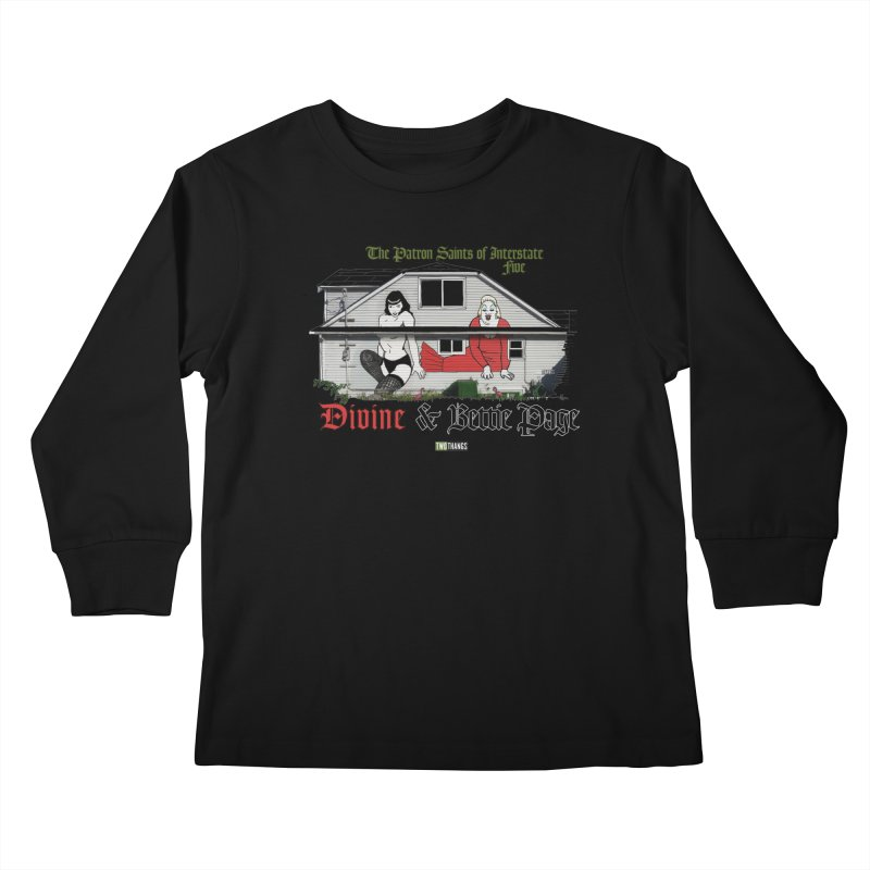Bettie Page and Divine Kids Longsleeve T-Shirt by Two Thangs Artist Shop