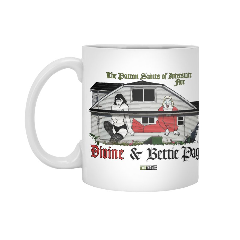 Bettie Page and Divine Accessories Standard Mug by Two Thangs Artist Shop