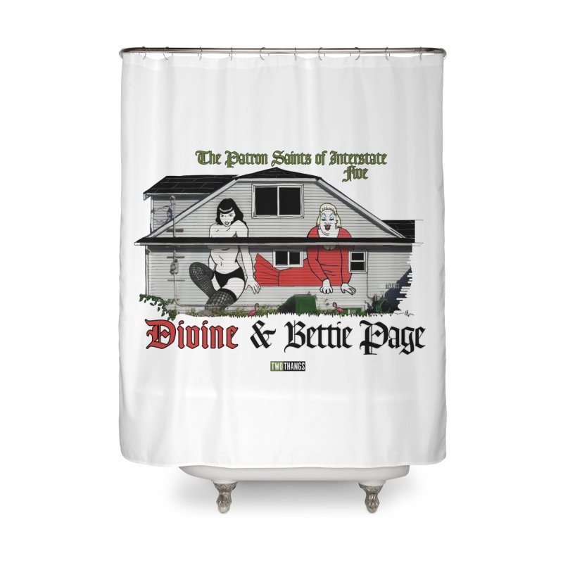 Bettie Page and Divine Home Shower Curtain by Two Thangs Artist Shop