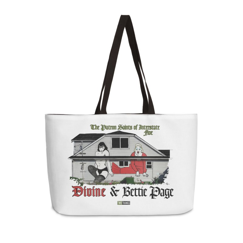 Bettie Page and Divine Accessories Weekender Bag Bag by Two Thangs Artist Shop