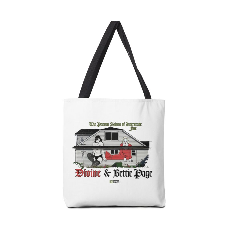 Bettie Page and Divine Accessories Tote Bag Bag by Two Thangs Artist Shop