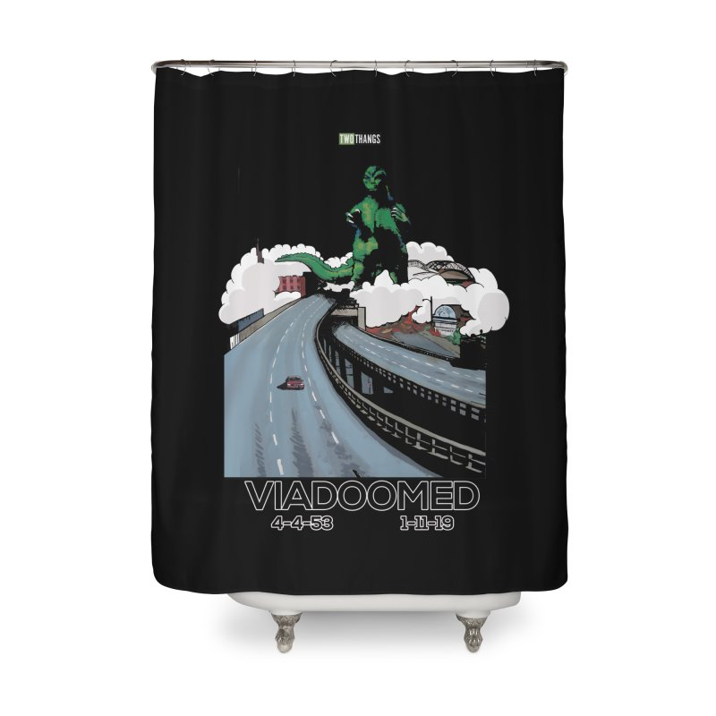 Seattle Viaduct (RIP) / Godzilla Home Shower Curtain by Two Thangs Artist Shop