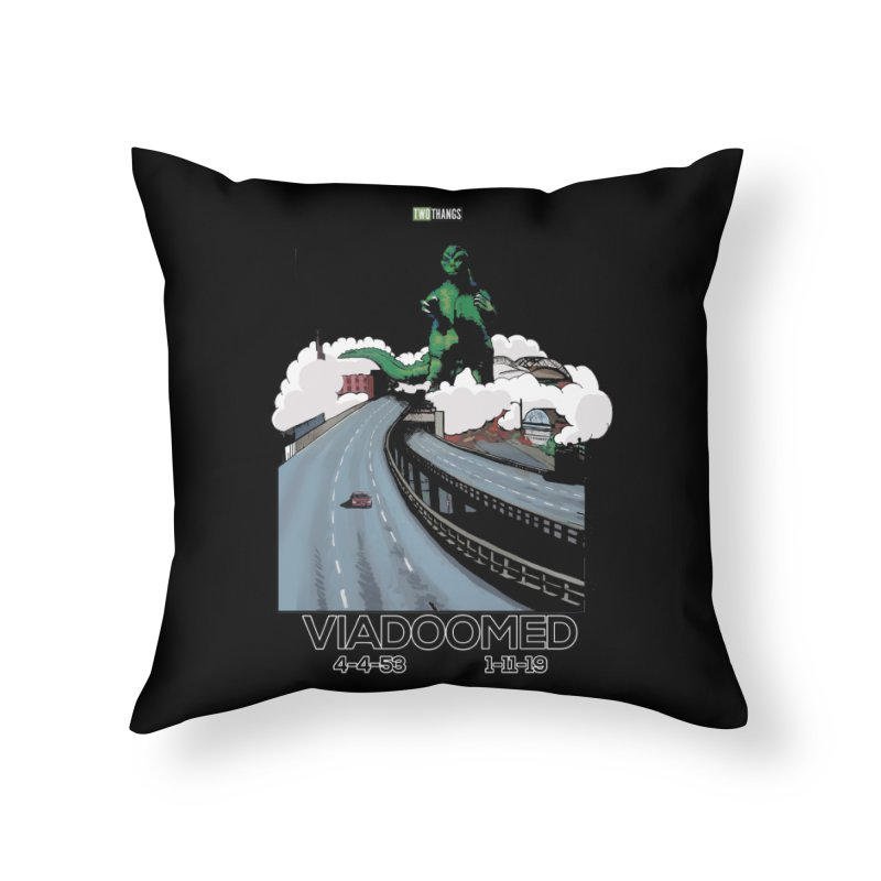 Seattle Viaduct (RIP) / Godzilla Home Throw Pillow by Two Thangs Artist Shop