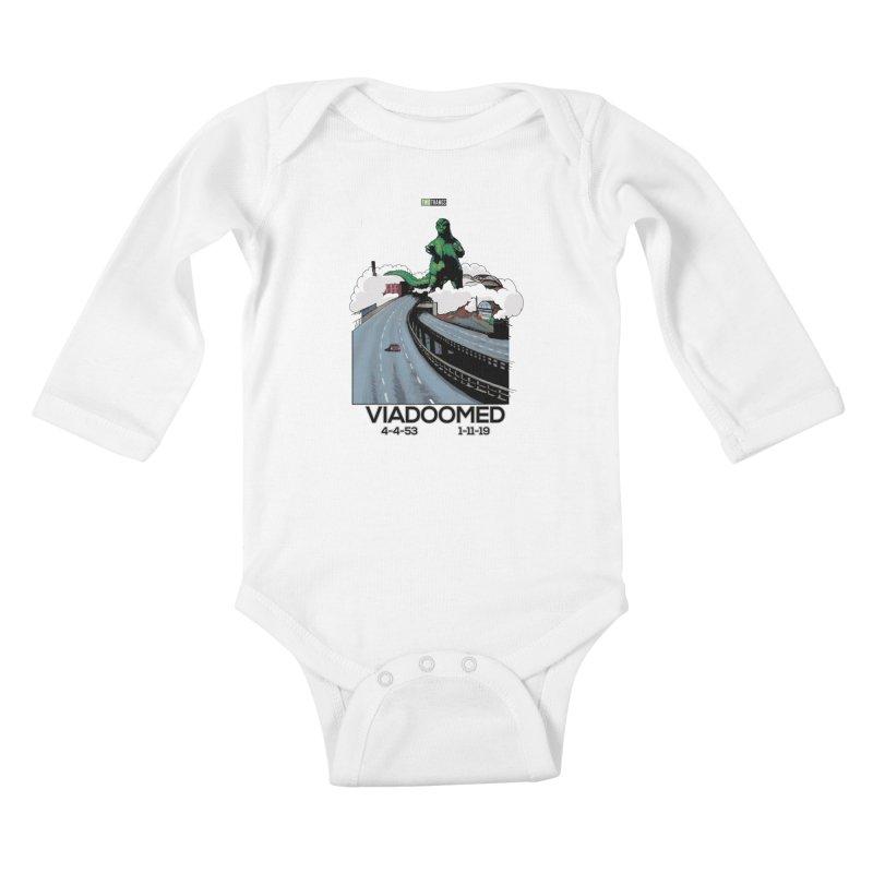 Seattle Viaduct (RIP) / Godzilla Kids Baby Longsleeve Bodysuit by Two Thangs Artist Shop