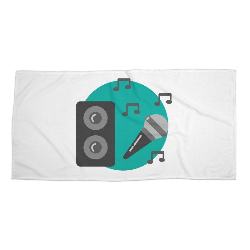 Mike & Speaker Accessories Beach Towel by TYNICKO Random Randoms Shop