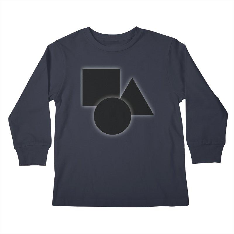 Basic Dark Shapes Kids Longsleeve T-Shirt by TYNICKO Random Randoms Shop