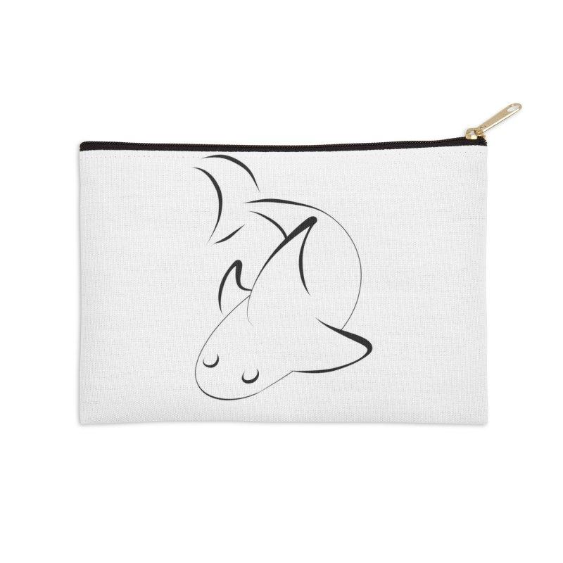 Shark (Black) Accessories Zip Pouch by TYNICKO Random Randoms Shop